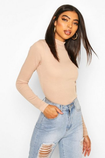 Taupe Tall Rib Knit High Neck Bodysuit