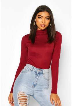 Wine Tall Rib Knit High Neck Bodysuit
