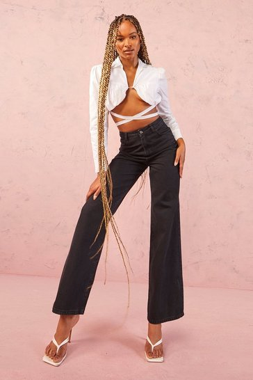 Womens Black Tall High Rise Wide Leg Jeans