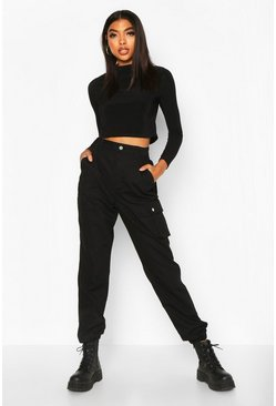 Womens Black Tall Pocket Detail Cargo Jeans
