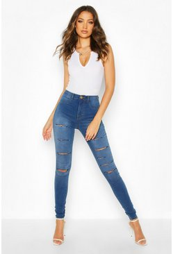 Womens Mid blue Tall Slash Rip Jeggings