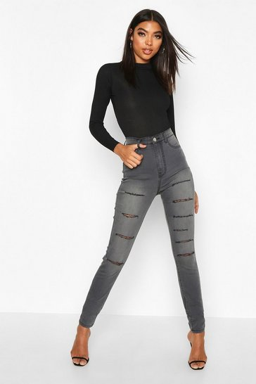 Womens Grey Tall Slash Rip Jeggings