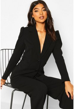 Black Tall Puff Sleeve Tailored Blazer