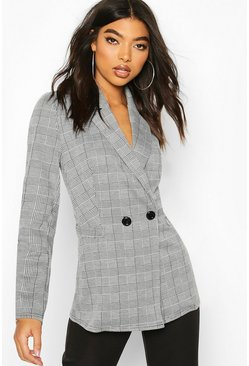 Black Tall Check Oversized Boyfriend Blazer