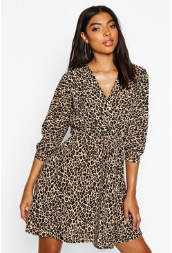 Womens Tall Leopard Print Wrap Dress