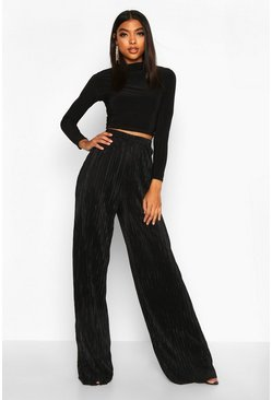 Womens Black Tall Plissé Wide Leg Trousers