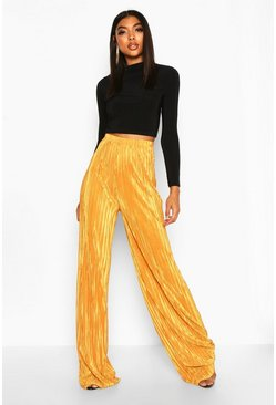 Gold Tall Plissé Wide Leg Trousers