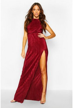 Berry Tall Plissé Thigh Split Maxi Dress