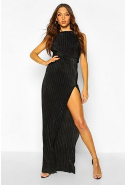 Black Tall Plissé Thigh Split Maxi Dress