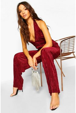 Berry Tall Plissé Plunge Wide Leg Jumpsuit