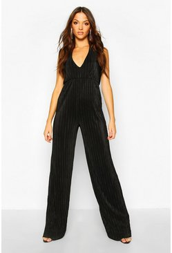 Black Tall Plissé Plunge Wide Leg Jumpsuit