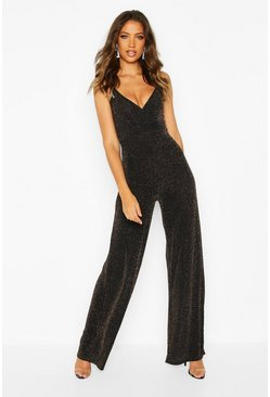 Gold Tall Shimmer Wrap Wide Leg Jumpsuit