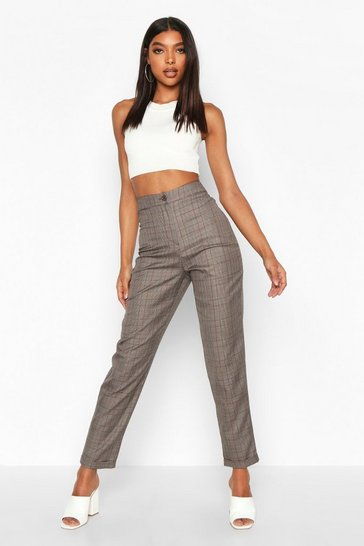 Grey Tall Check Tapered Trousers