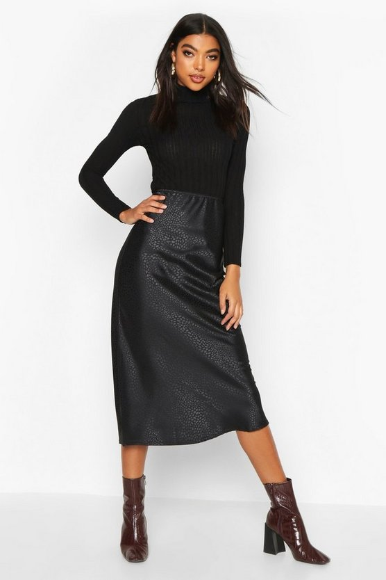 Tall Animal Jacquard Satin Midi Skirt Tall Animal Jacquard Satin Midi Skirt by Boohoo
