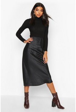 Black Tall Animal Jacquard Satin Midi Skirt