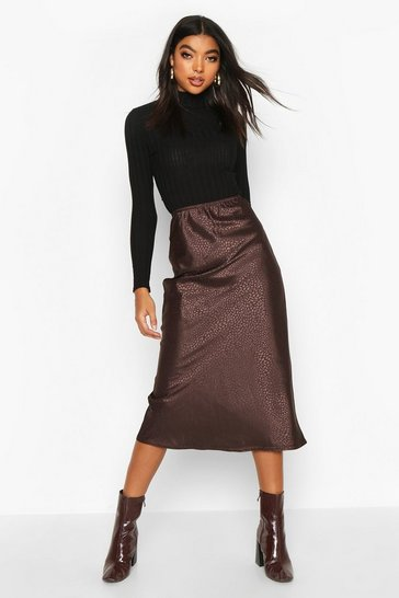 Womens Chocolate Tall Animal Jacquard Satin Midi Skirt