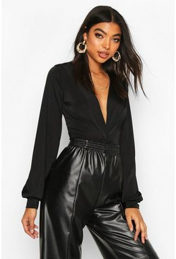 Black Tall Wrap Front Blouson Sleeve Bodysuit