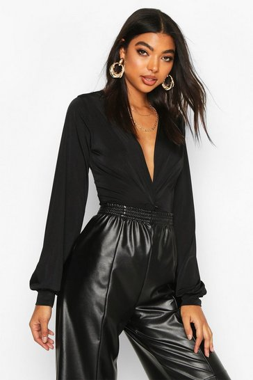 Womens Black Tall Wrap Front Blouson Sleeve Bodysuit
