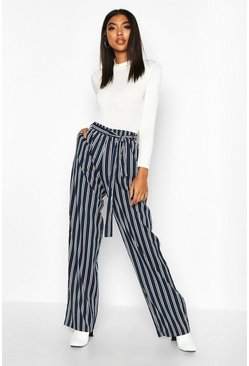 Navy Tall Wide Leg Stripe Trouser