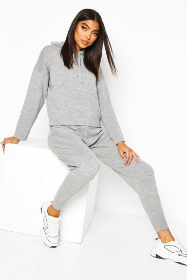 Grey Tall Hooded Knitted Lounge Set