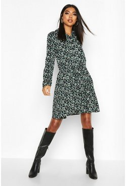 Womens Black Tall Floral Shirt Dress