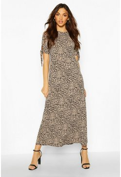 Womens Tall Leopard Print Tie Sleeve Midi Dress