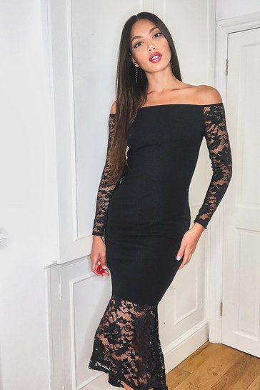 Womens Black Tall Off the Shoulder Lace Midi Dress