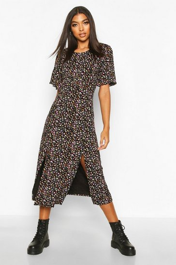 Black Tall Floral Print Angel Sleeve Midi Dress