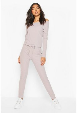 Womens Grey Tall Rib Off the Shoulder Jumpsuit