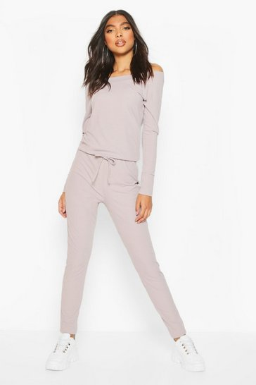 Grey Tall Rib Off the Shoulder Jumpsuit