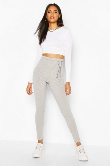 Grey Tall Belted Rib Leggings