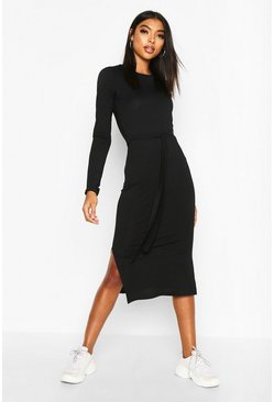 Black Tall Belted Rib Midi Dress