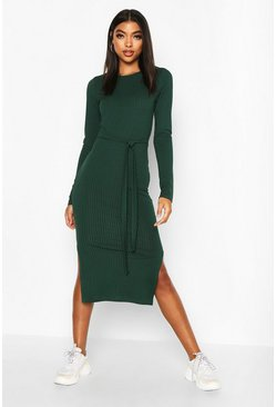 Tall Belted Rib Midi Dress, Bottle