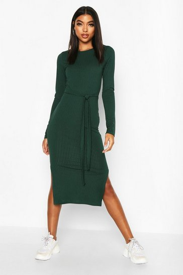 Bottle Tall Belted Rib Midi Dress