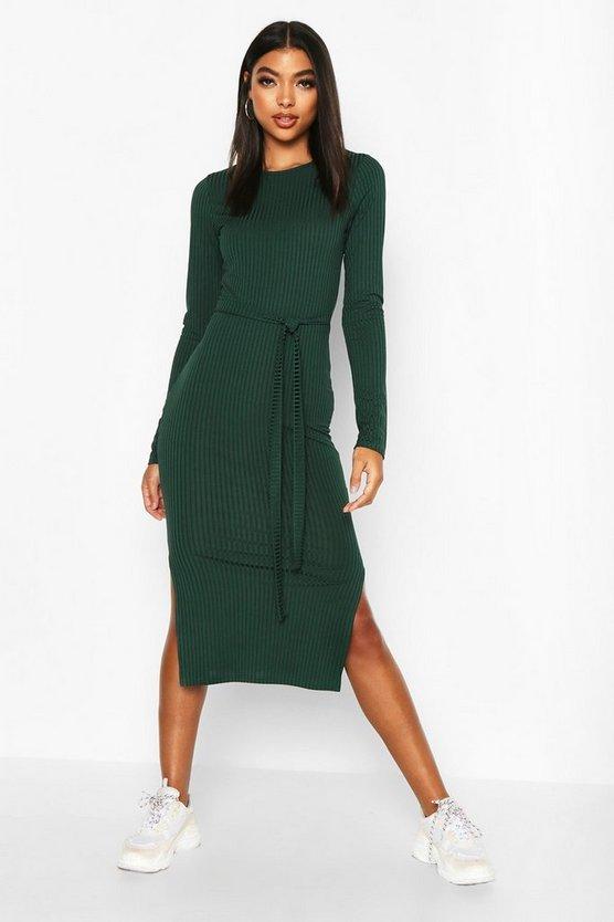 Tall Belted Rib Midi Dress