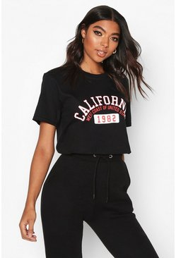 Womens Black Tall 'California 1982' Slogan T-Shirt