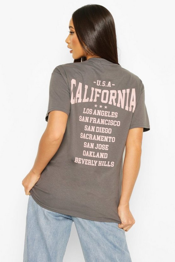 Tall 'California' Back Slogan T-Shirt