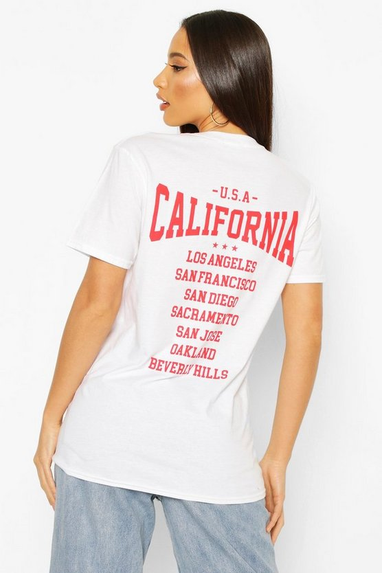 White Tall 'California' Back Slogan T-Shirt