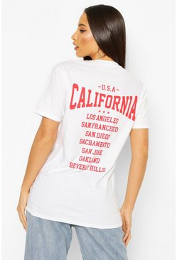 Womens White Tall 'California' Back Slogan T-Shirt