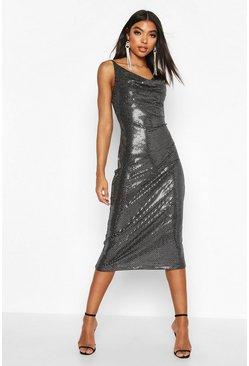Silver Tall Cowl Neck Sequin Midi Dress