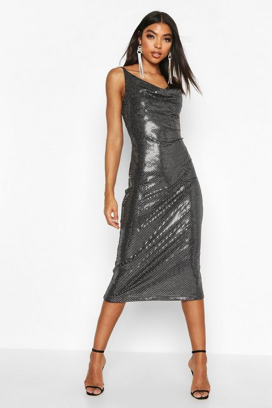 Tall Cowl Neck Sequin Midi Dress