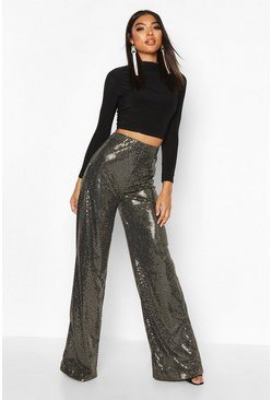 Gold Tall Sequin Wide Leg Trousers