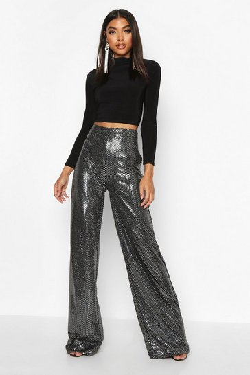 Womens Silver Tall Sequin Wide Leg Trousers