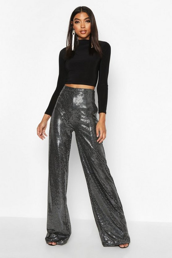 Tall Sequin Wide Leg Trousers