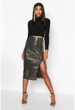 Tall Sequin Thigh Split Midi Skirt, Gold