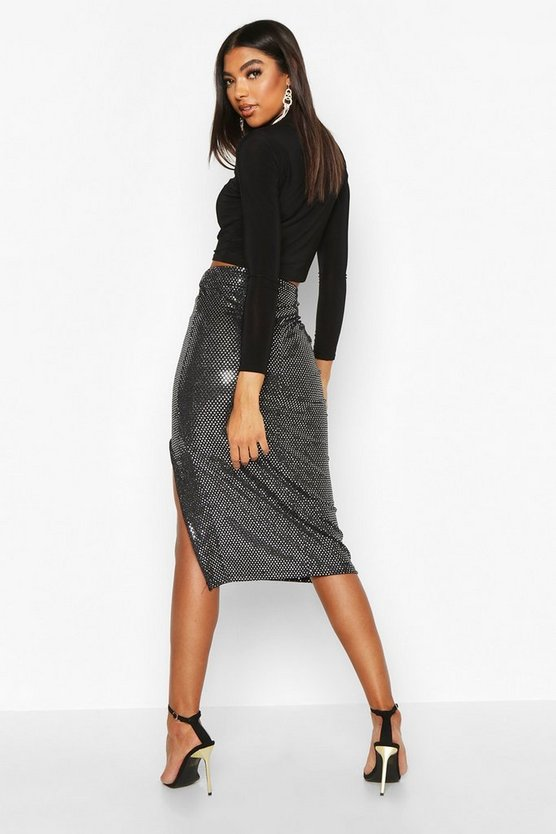 Tall Sequin Thigh Split Midi Skirt
