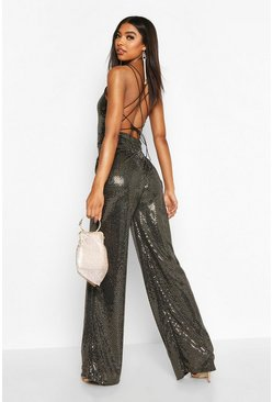 Womens Gold Tall Strappy Cut Out Back Sequin Jumpsuit