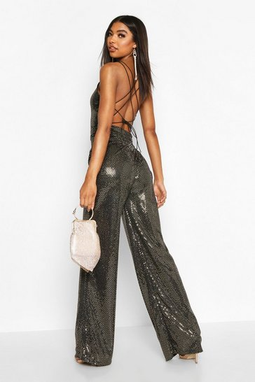Gold Tall Strappy Cut Out Back Sequin Jumpsuit