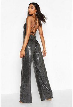 Silver Tall Strappy Cut Out Back Sequin Jumpsuit