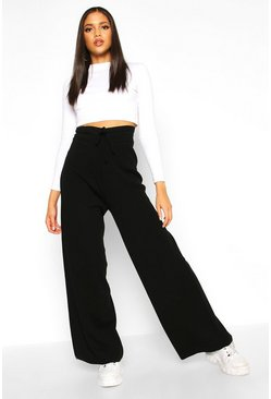 Black Tall Knitted Wide Leg Trousers